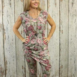 Turquoise Haven Olive Pink Sleeveless Top